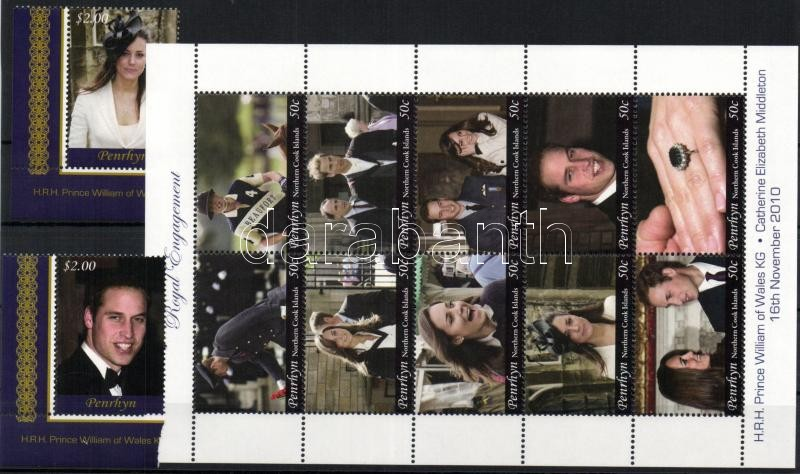 Prince William and Kate Middleton - Royal Engagement set+mini-sheet+4 diff. blocks William herceg és Kate Middleton - királyi eljegyzés sor + kisív + 4 klf blokk