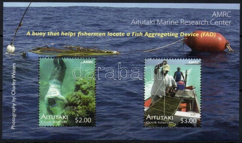 Institute of oceanography mini sheet set + block, Aitutaki Tengeri kutatóintézet kisív sor (6 klf) + blokk