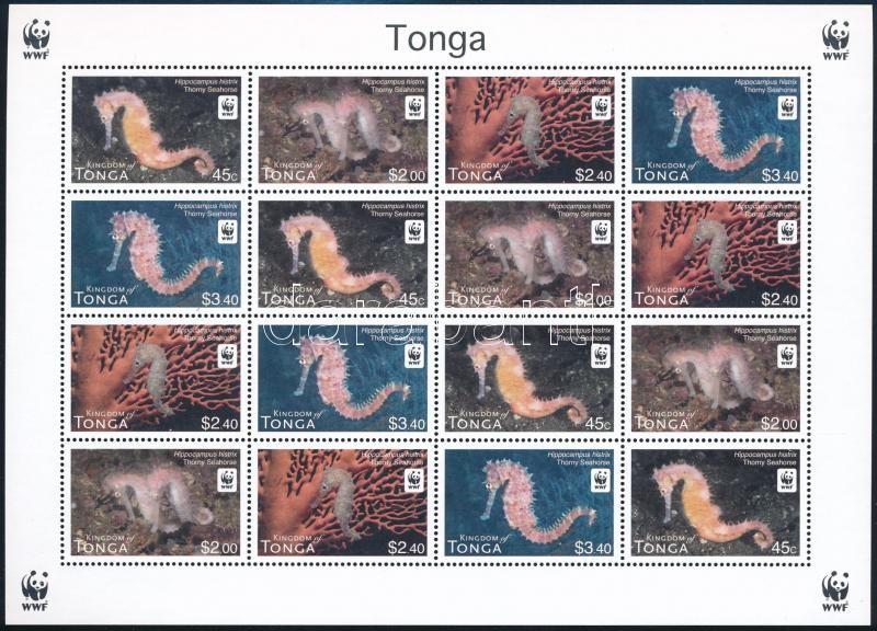 WWF Seahorses mini sheet with 4 set, WWF Csikóhalak 4 sort tartalmazó kisív