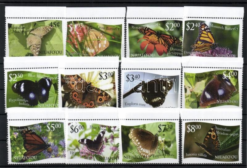 Butterflies set, 12 value, Lepkék sor, 12 érték
