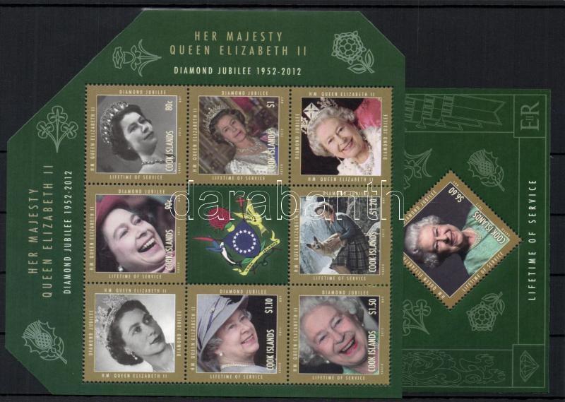 60th Anniversary of Queen Elisabeth II's enthronement mini-sheet+block II. Erzsébet királyné trónra lépésének 60. évfordulója kisív + blokk