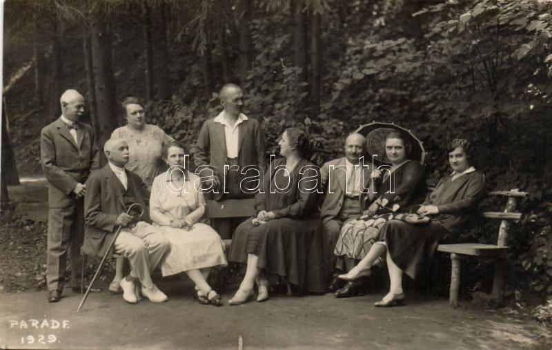 1929 Parádfürdő, csoportkép, photo