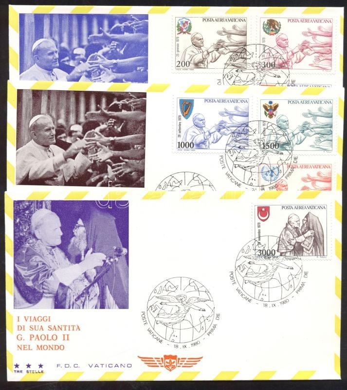 II. Pope John Paul's journey around the world (1979)on 3 FDCs II. János Pál pápa világkörüli útja (1979) 3 db FDC-n