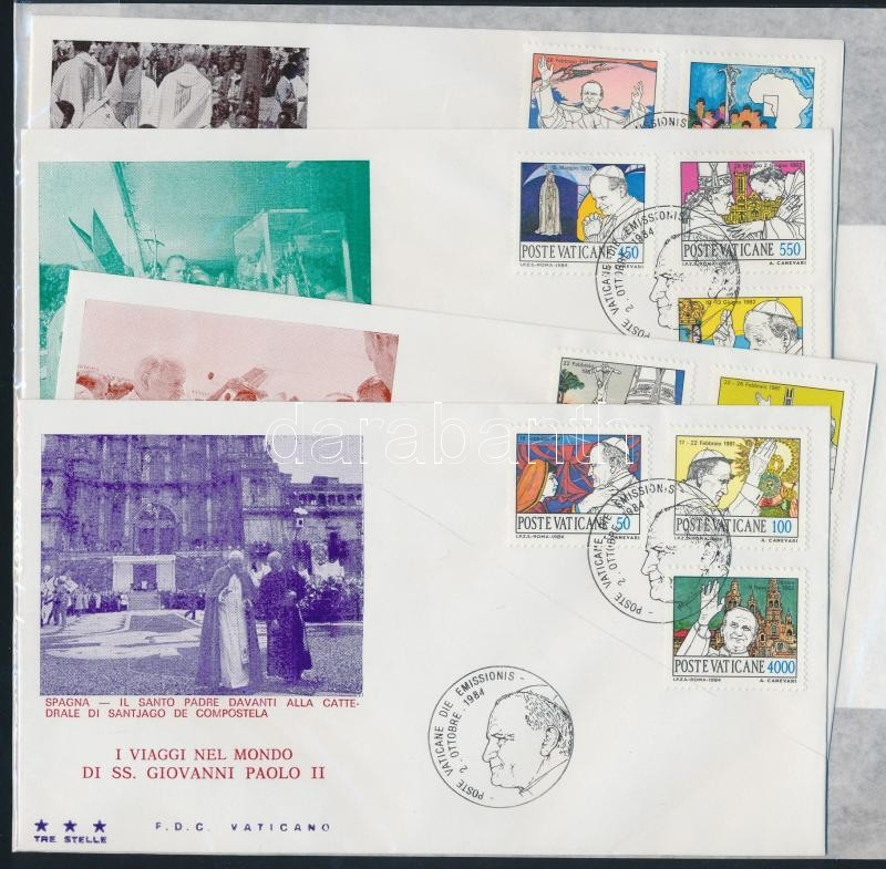 II. Pope John Paul's journey around the world (1982-1983) on 4 FDCs II. János Pál pápa világkörüli útja (1982-1983) 4 db FDC-n