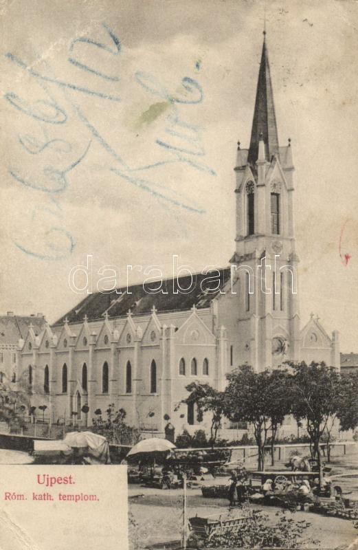 Budapest IV. Újpest, katolikus templom, piac