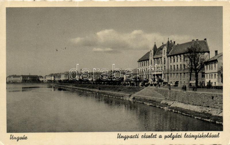 Uzhhorod, Ung river, girl school, Ungvár, Ung part, Polgári leányiskola