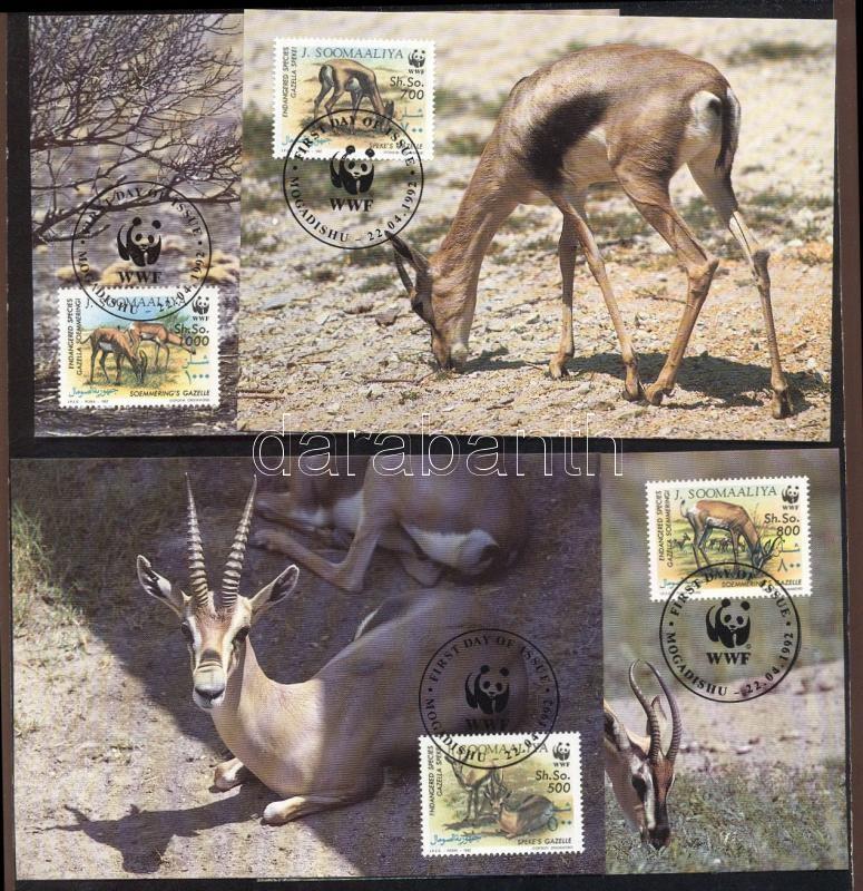 WWF: Gazelles + 4 FDCs WWF: Gazellák 4 db CM-en