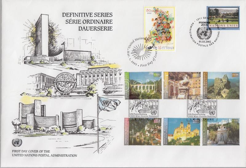 Definitve stamps and set on FDC Forgalmi bélyegek és sor FDC-n