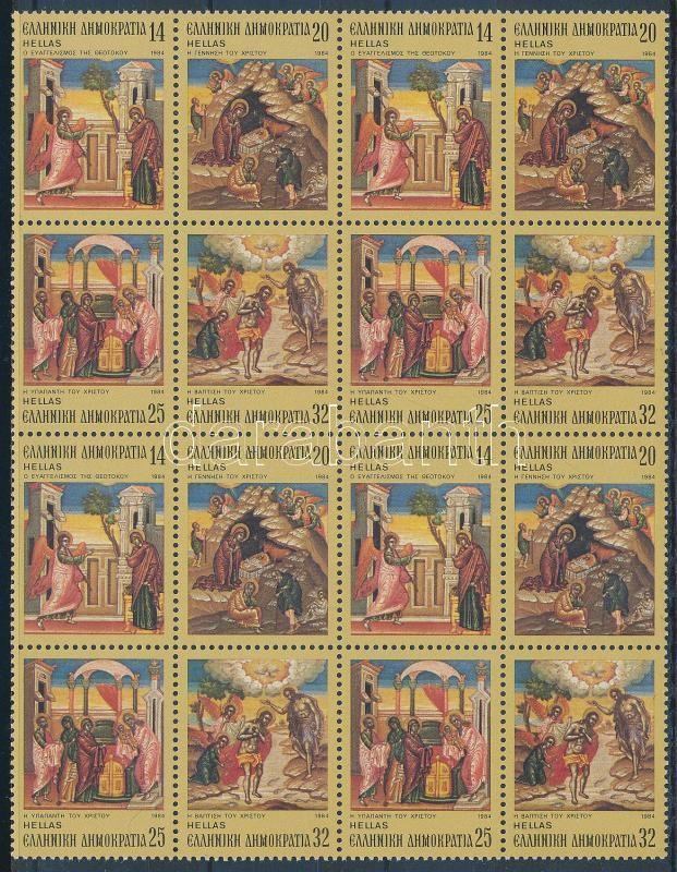 Christmas 4 sets in block of 16 Karácsony 4 sor 16-os tömbben