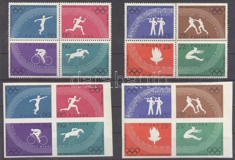Summer Olympics, Rome perforated and imperforated set block of 4 Nyári olimpia, Róma fogazott és vágott sor négyestömbökben