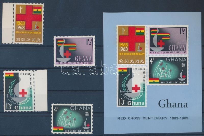 International Red Cross Centenary+imperforated block 100 éves a Nemzetközi Vöröskereszt + vágott blokk