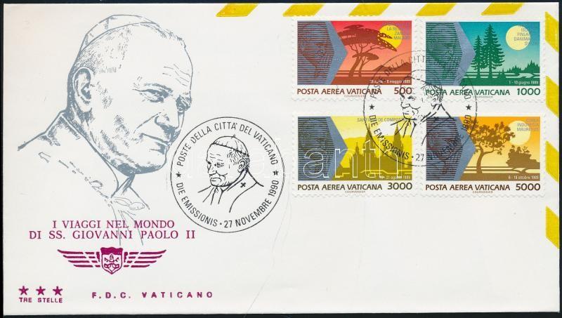 II. Pope John Paul's journey around the world (1989) on FDC II. János Pál pápa világkörüli útja (1989) FDC-n