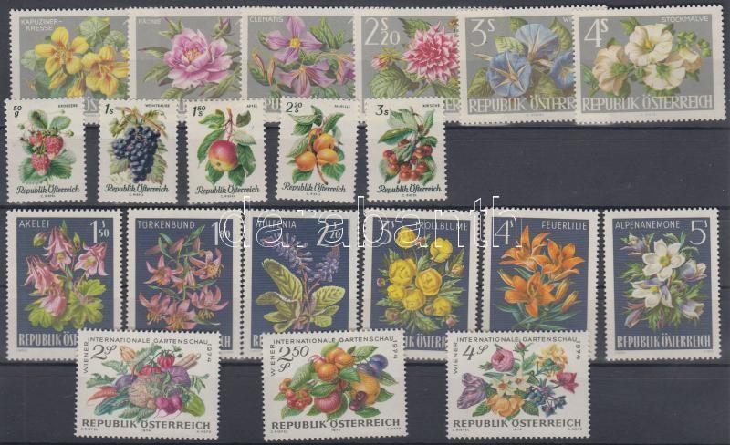 1964 + 1966 + 1974 Növény motívum tétel 4 klf sor 1964 + 1966 + 1974 Botanical motif item 4 diff. set