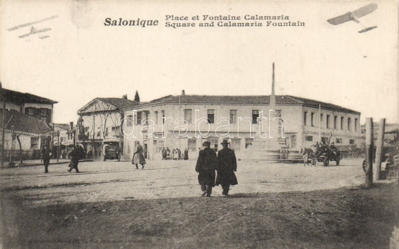 Thessaloniki, square and Calamaria fountain, aeroplane