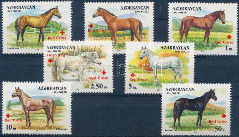 Lovak vöröskereszt felülnyomással (Mi 359 kettős felülnyomással, az egyik fordított) Horses with Red Cross overprint (Mi 359 with double overprint, one of them overturned)