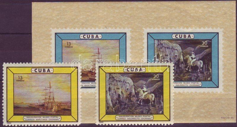 Opening of post museum set + imperforated block with printed perforation, A postamúzeum megnyitása sor + vágott blokk nyomtatott fogazással, Eröffnung des Postmuseums Satz + ungezähnter Block mit aufgedruckter Zähnung