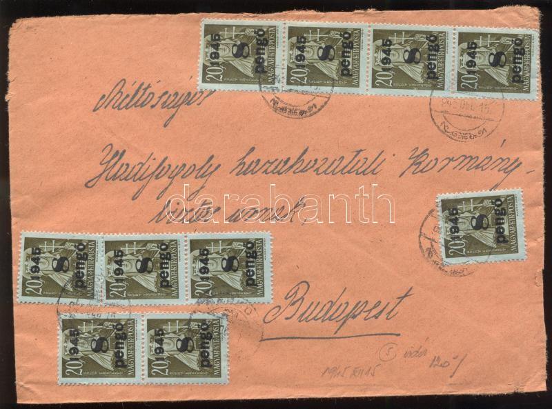 Inflation cover, (5. díjszabás) Távolsági levél Kisegítő 20x 2P/4f + 10x 8P/20f bélyeggel bérmentesítve