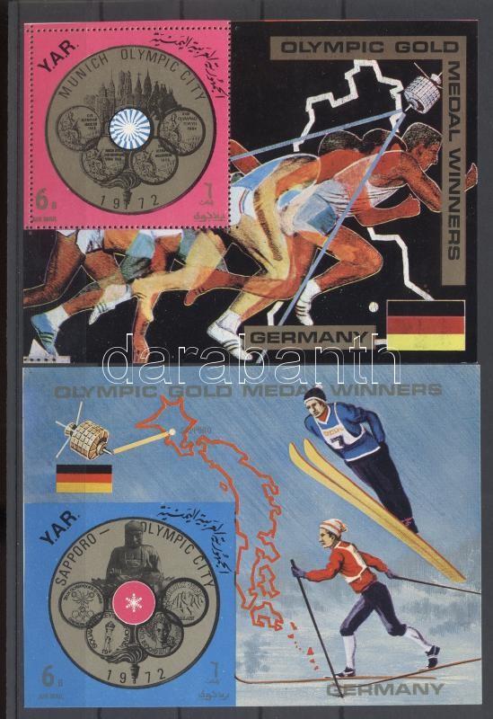 German olympic medal winners perforated and imperforated block Német olimpiai aranyérmesek fogazott és vágott blokk