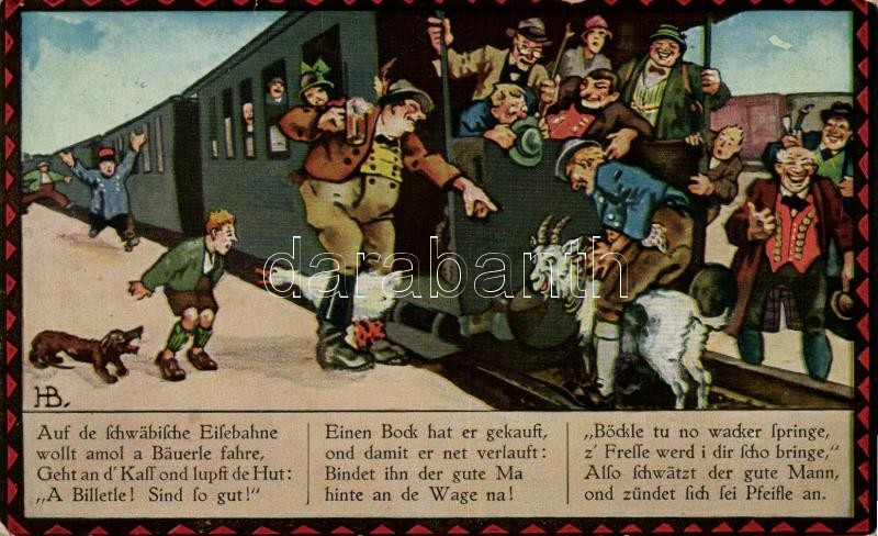 'Auf der schwäbische Eisebahne...' Locomotive, humour, 'Kneipp' So. Stpl, Gőzmozdony, humor 'Kneipp' So. Stpl
