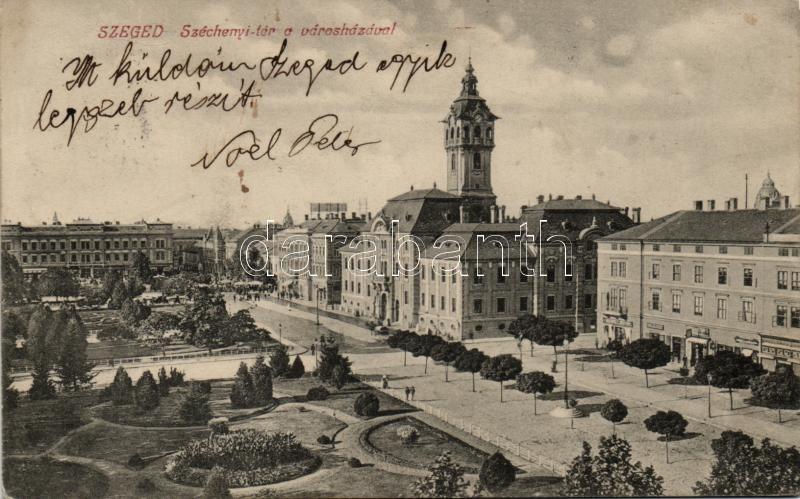 Szeged, Széchenyi tér, háttérben a zsinagóga