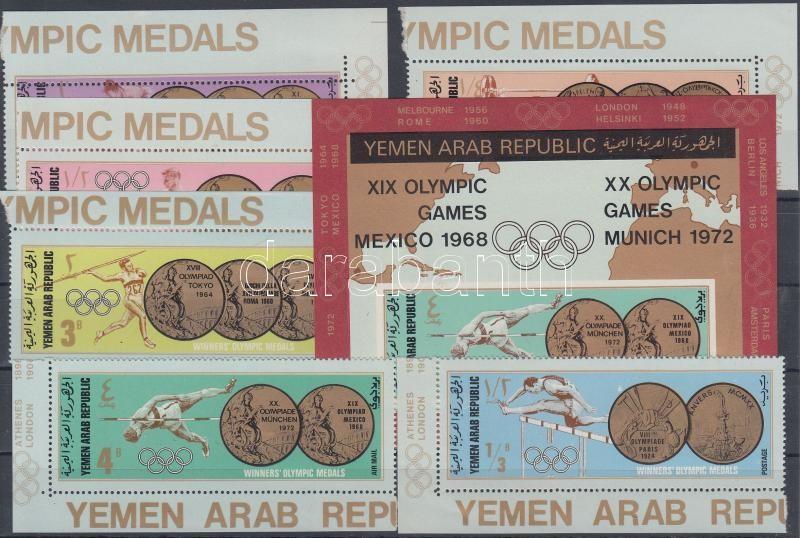 Az olimpia érmesei (I.) ívsarki sor + blokk Olympic medals (I) corner set+block