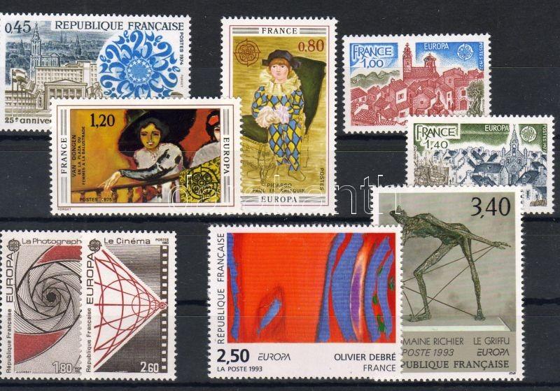 1974-1993 4 klf Europa sor + Europa Tanács 25. évforduló bélyeg, 1974-1993 4 diff Europa set + 25th anniversary of European Council stamp