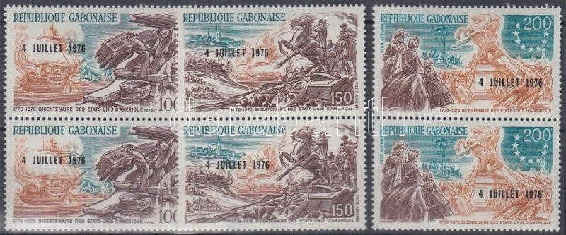 Bicentenary of Indepedence set in pairs with overprint 200 éves a függetlenség sor párokban felülnyomással