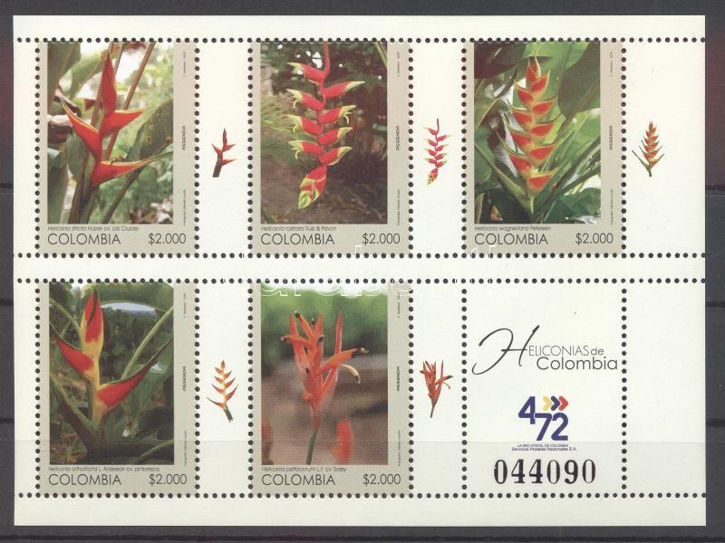 Rákollóvirágok kisív Heliconia stricta mini-sheet