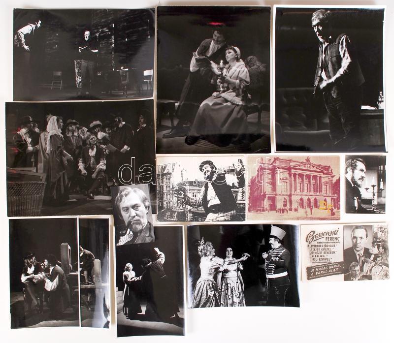 cca 1960-1990 11db fotó Bessenyei Ferenc Kossuth-díjas színművészről, továbbá két nyomtatvány, 6x9-18x24cm