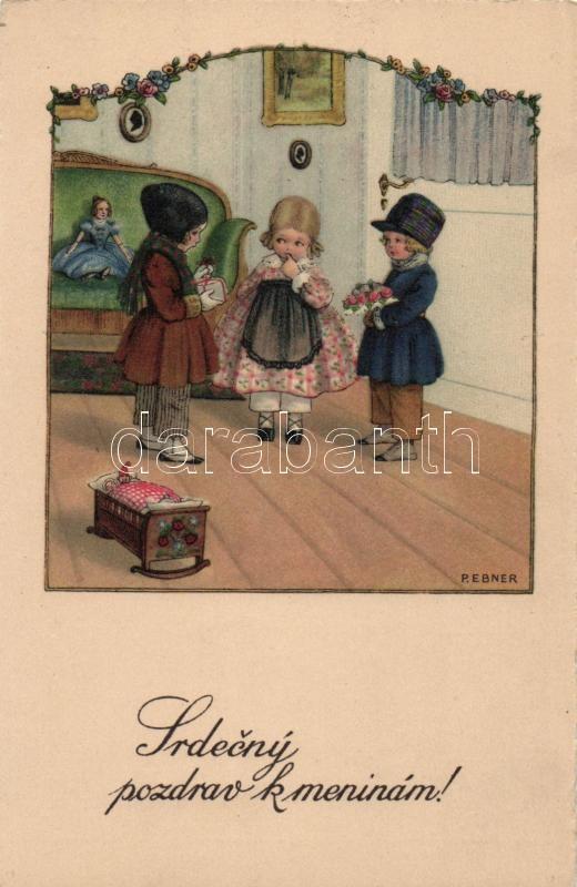 Name day, children with presents, Miku Nr. 1077. litho s: Pauli Ebner, Névnap, ajándékozó kisgyerekek, Miku Nr. 1077. litho s: Pauli Ebner