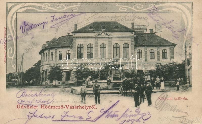 Hódmezővásárhely, Központi szálloda, Art Nouveau, kiadja Jaeger Nándor