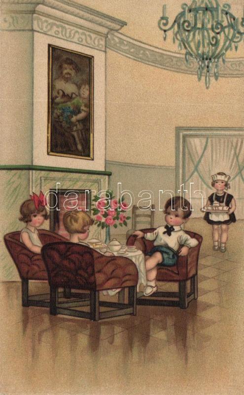 Children at the salon, Miku Nr. 3064. litho, Gyerekek a szalonban, Miku Nr. 3064. litho