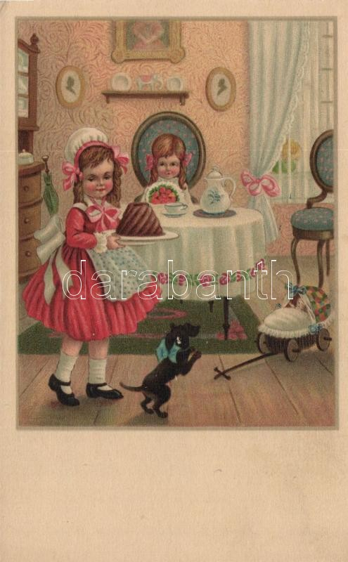 Little girls with cakes, Miku Nr. 3074. litho s: Pauli Ebner, Kislányok sütivel, Miku Nr. 3074. litho s: Pauli Ebner
