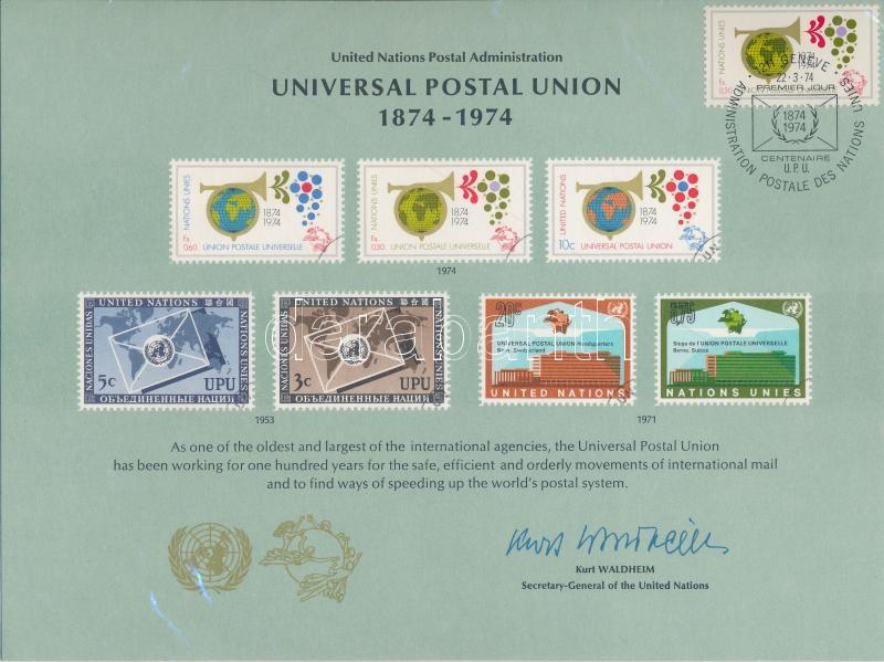 Centenary of UPU on memorial sheet with forst day cancellation, 100 éves az UPU emléklapon első napi bélyegzéssel