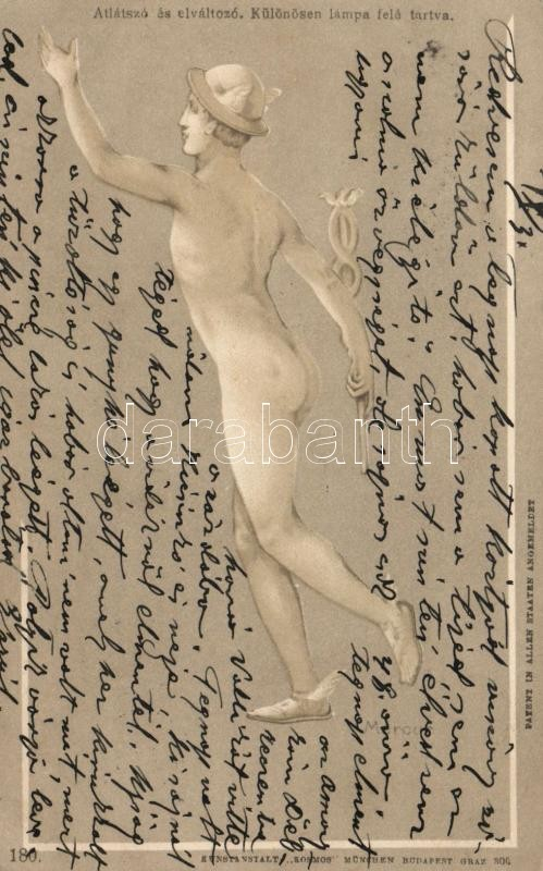 Mercurius, meztelen férfi, humor, Kosmos 180. hold to light litho, Mercury, nude man, humour, Kosmos 180. hold to light litho