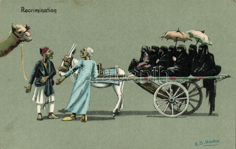 Recrimination / Selling women for a camel, humour, Egyptian folklore litho s: E. B. Norton, Tiltakozás, egy szekér nőt egy tevéért, humor, egyiptomi folklór litho s: E. B. Norton