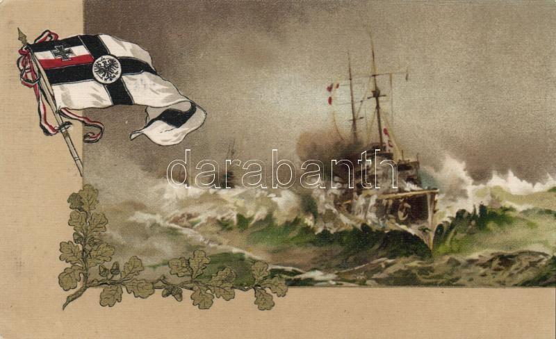Warship, German flag litho, Német hadihajó zászlóval litho