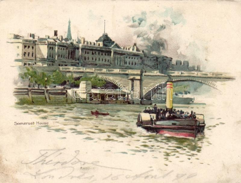 1899 London, Somerset House, litho minicard (11.5 × 9 cm) / ship