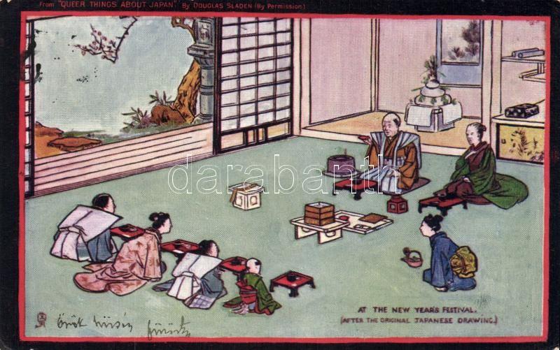 Japán folklór, Újév, Raphael Tuck Oilette, New Year 'Queer things about Japan Series I.' by Douglas Sladen, Raphael Tuck Oilette