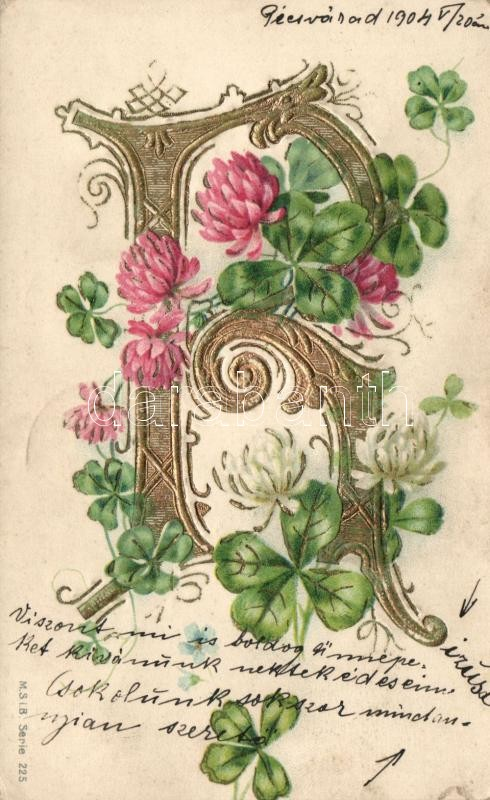 The letter 'R', Name day, clover, golden decoration, floral Art Nouveau Emb. litho, R betű, névnap, lóhere, arany díszítés, floral Art Nouveau Emb. litho