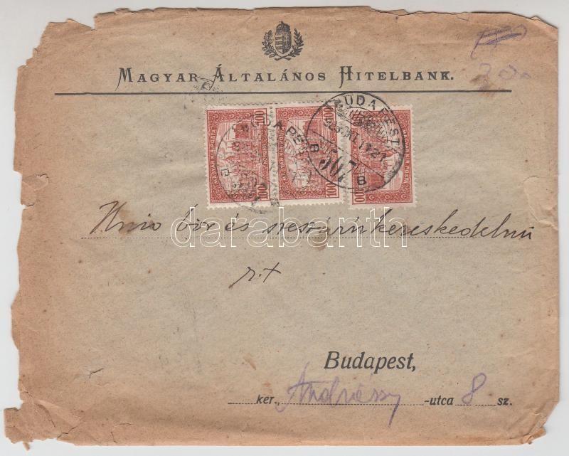 Local cover, (10. díjszabás) 3 x Parlament 100K MAH céglyukasztással helyi levélen (megviselt állapotban)
