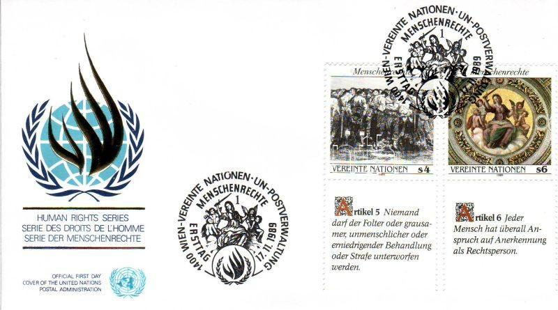 Human Rights 3 FDC, Emberi jogok 3db FDC (klf nyelvű szelvények)