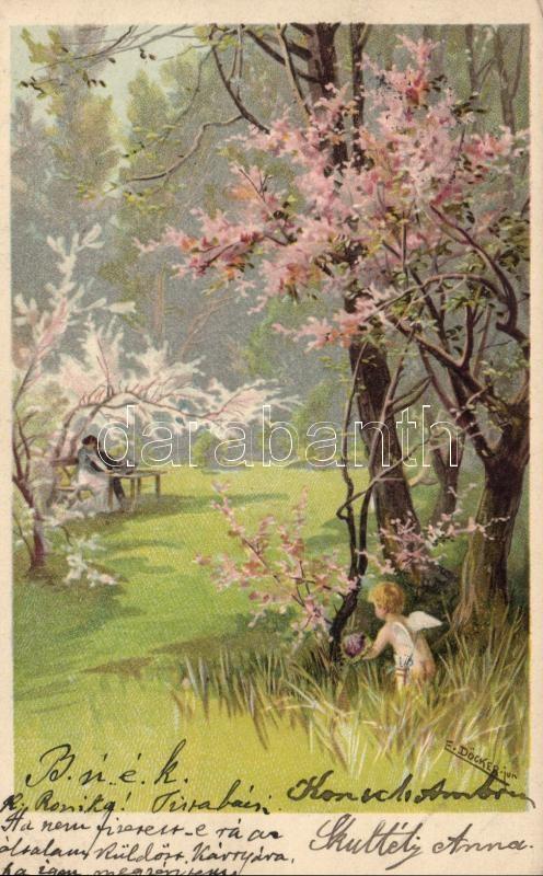 Romantic litho postcard s: E. Döcker, Romantikus képeslap, litho, s: E. Döcker