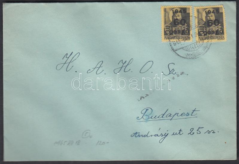 Inflation cover, (5. díjszabás) Távolsági levél 2x Kisegítő 60P/18f bérmentesítéssel, cenzúra bélyegzéssel