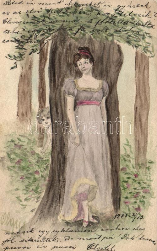 Lady, hand-painted postcard, Hölgy, kézzel festett képeslap