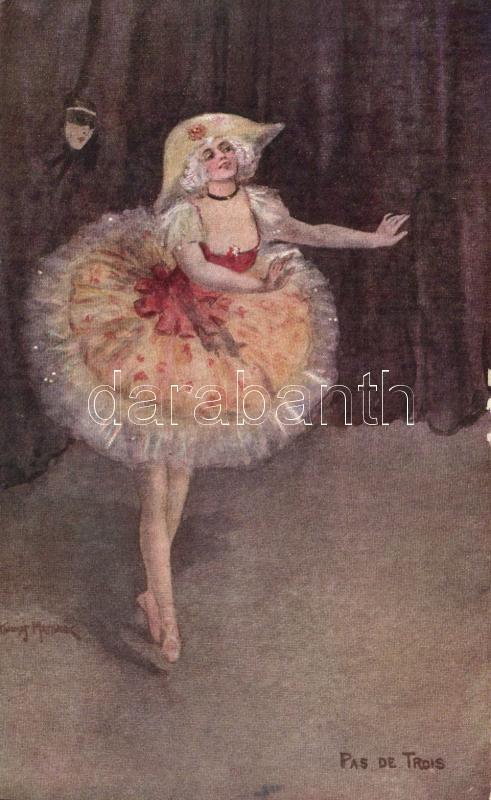 Pas de trois, ballet, M. M. Vienne Nr. 339, artist signed, Balettozó hölgy, M. M. Vienne Nr. 339., szignós