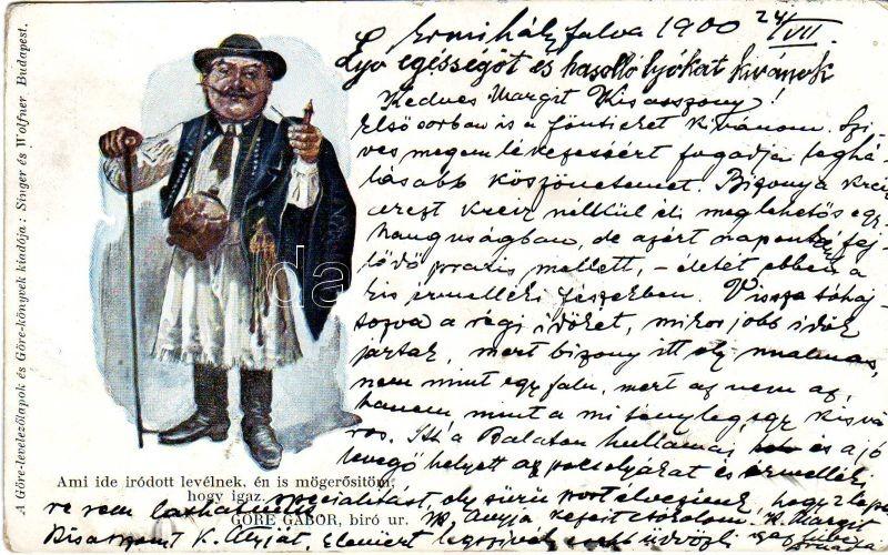 Hungarian folklore, Göre Gábor levelezőlap, 'Singer és Wolfner, Budapest'