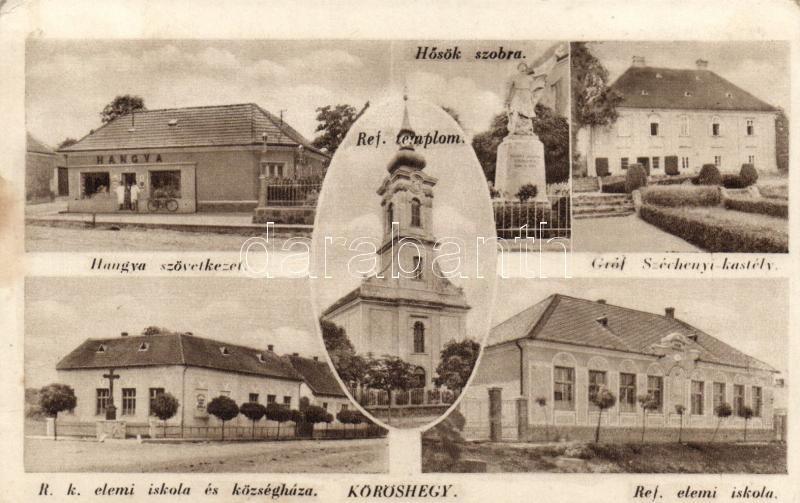 Kőröshegy, Hangya, Hősök szobra, Gróf Széchenyi kastély, Református templom és iskola, Római katolikus iskola, községháza