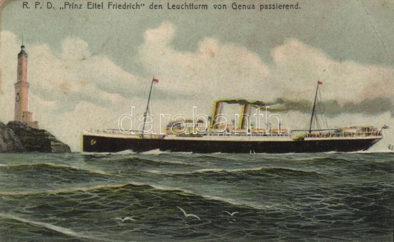 Genova, lighthouse, SS Prinz Eitel Friedrich, SS Prinz Eitel Friedrich gőzhajó, világítótorony