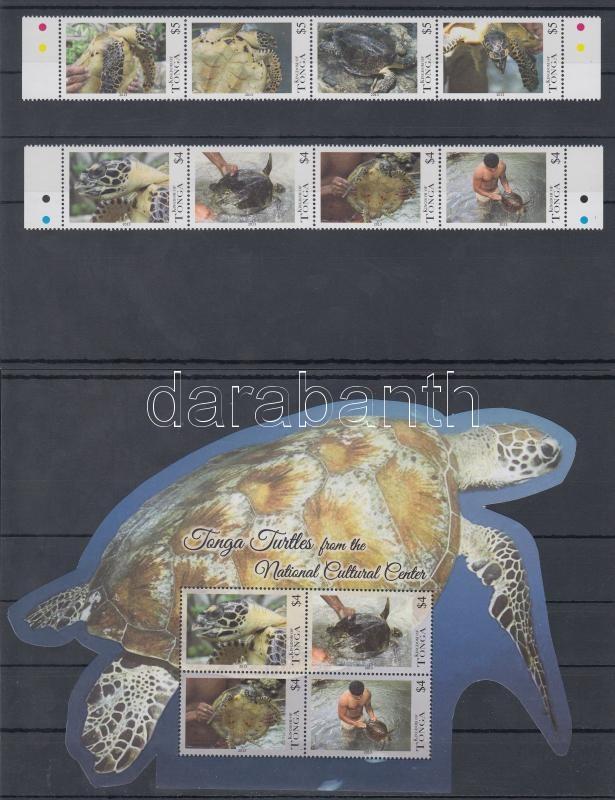 Turtles set 8 values + block (nominal value: 56$), Teknősök sor 8 érték + blokk (névérték: 56$)